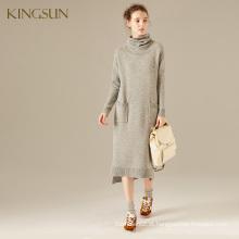 Coleção de outono e inverno das senhoras Coleira de lã e cachemira Camisola de malha com gola de gola