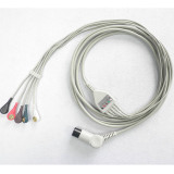 One Piece 5-Lead Clip ECG Cable with Medical Equipment
