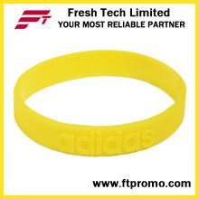Venta al por mayor de pulsera de silicona ecológica con logotipo