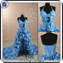 JJ2999 frente curta longa volta luz azul céu vestidos de casamento padrões 2014