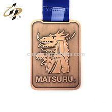 Free sample custom antique bronze judo sports replica metal medallion necklace