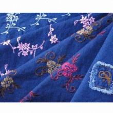 Tela del bordado de pantalones vaqueros del dril de algodón, mano suave textura