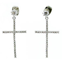 2015cross Earring Fasion 925 Silver Jewelry (E6502)