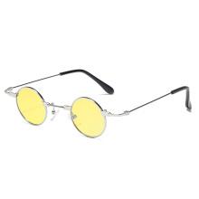New ladies glasses flat round mirror multicolor lens metal custom logo 2020 sunglasses