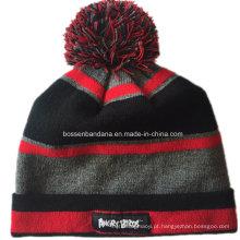 OEM Produce Customized Design Striped Soft Inverno Outono Knit Cap Hip-Hop Ski Beanie Hat