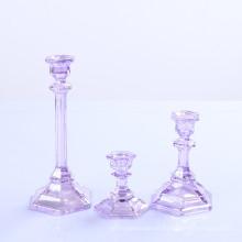 Titular de vela de cristal transparente para decoração de casa