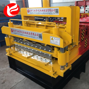 Glazed tile roofing sheet double layer forming machine