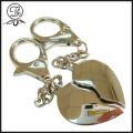 Shinny silver heart charm metal keychain
