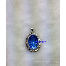 Jewellery-Blue Quartz Sterling Silver Pendant (TP1377)