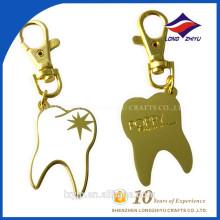 Elegante weiße leere Emaille Zähne Schlüsselanhänger Metall
