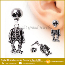 Skeleton Dangle Earring 316L Acero quirúrgico Cráneo Pendiente Tragus Barbell