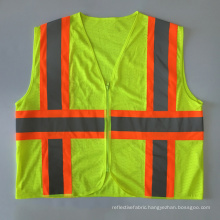 American ANSI 107 mesh safety vest zipper closure with contrast warning reflective tape