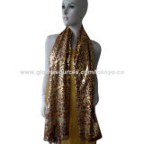 Yarn dyed poly scarf with golden foil, sized 180*70+1.5cm, self fringe