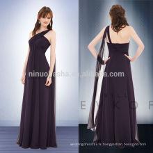 Hot Sale 2014 Plum Empire Robe de demoiselle d'honneur en une épaule Plein-longueur Criss-Cross plis Long Robe de bal avec ruban NB0725