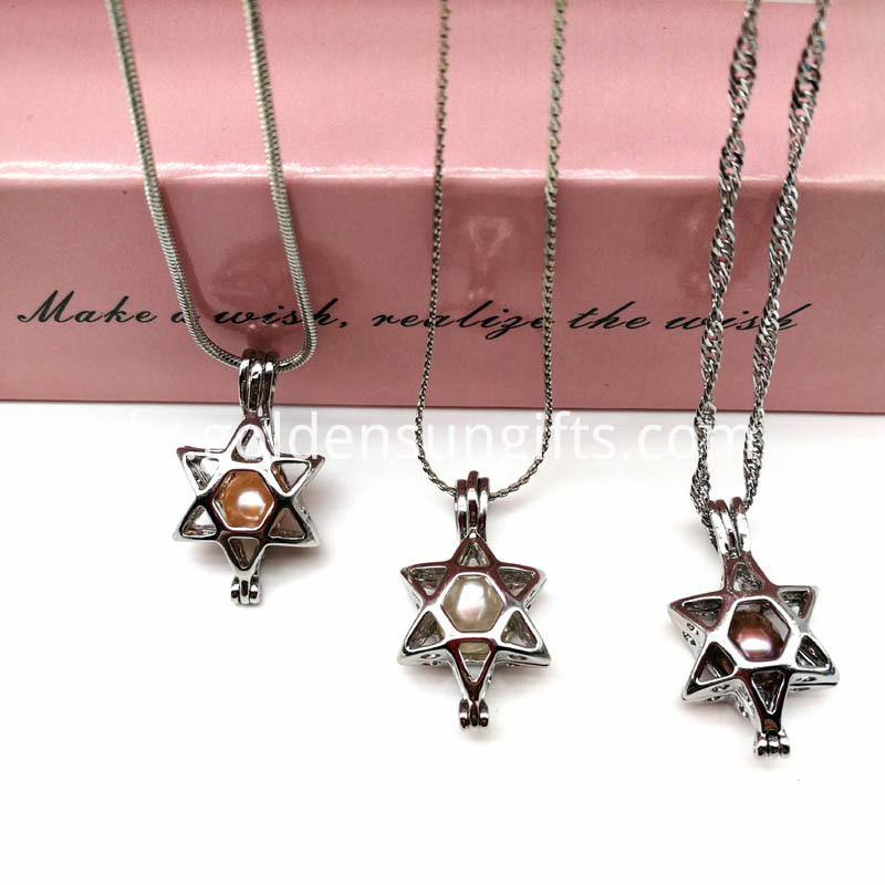 Real Pearl Beads Cage Pendant Star Style Locket Necklace