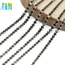 Fabricante de suministro de plata cerrar garra Jet Glass Chaton Rhinestone Cup Chain para accesorios de ropa, G0208