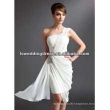 HC2070 New designer white gathered with tight satin skirt A-line chiffon one shoulder dress patterns