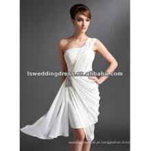 HC2070 Novo designer branco reuniu-se com saia de cetim apertada A linha de chiffon um vestido de ombro padrões