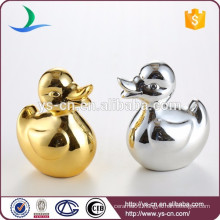 Gold-plated and silver plated ceramic duck home decor