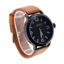 Black Case Genuine Leather Quartz Watch