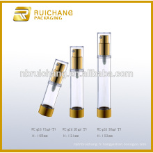 15ml / 20ml / 30ml bouteille étanche cosmétiques en aluminium, bouteille ronde métallique sans air, bouteille de pompe sans air cosmétique