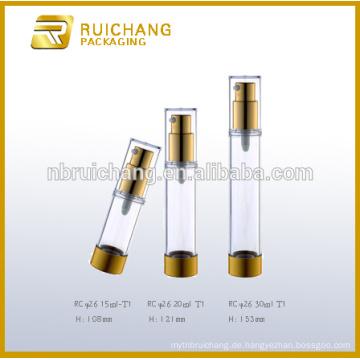 15ml / 20ml / 30ml Aluminium Kosmetik Airless Flasche, Metallic Runde Airless Flasche, kosmetische Airless Pumpe Flasche