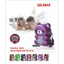 """6 """"портативный динамик батареи QQ медведь"""