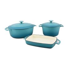 different color enamel coating cast iron cookware set