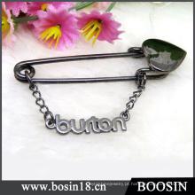 Broche de metal nome personalizado personalizado preto brilhante # 5843