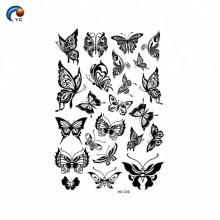 Autocollant de tatouage temporaire décoration papillon corps noir