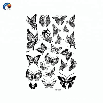 Black body butterfly decoration temporary tattoo sticker