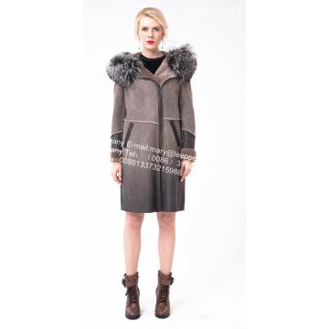 Medium Women 호주 메리노 Shearling Thick Coat