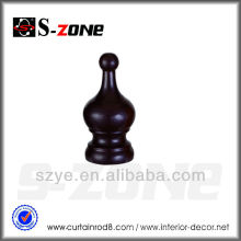 WF02 horno secado marrón oscuro marrón cortina rod finials para la decoración