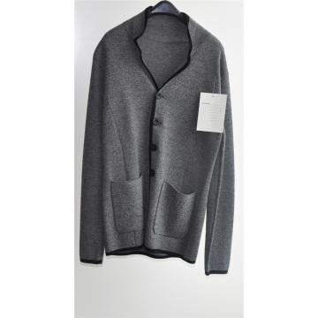 Hombres 100% lana invierno chaqueta de punto con botón y bolsillo