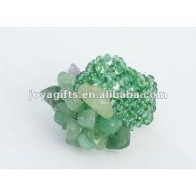 Green Aventurine Chip stone Stretch Seed Glass beads Ring