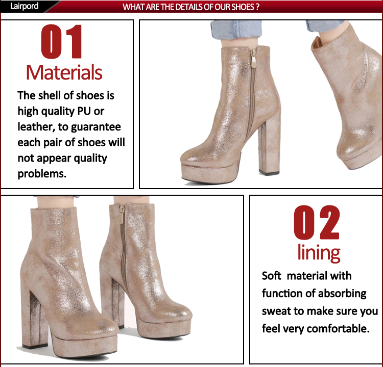 Gold plating PU leather winter boots for women