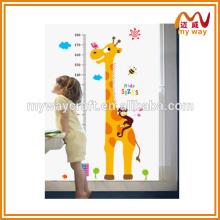 Adesivos de parede removíveis, bonitos adesivos de medição de altura de girafa, projetados para crianças