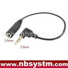 Conector estéreo de 2,5 mm ângulo recto para 3,5 mm estéreo jack adaptador cabo fone de ouvido