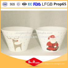 CIQ beautiful decal design xmas stoneware ceramic conical bowl wholesale