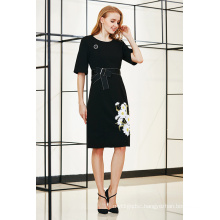 Elegant Elbow Sleeve A Line MIDI Dress with Embroidery Patch and Front Bow Tie