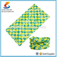 100% poliéster verde Multifuncional tubo sem costura esporte headwear cachecol, bandana