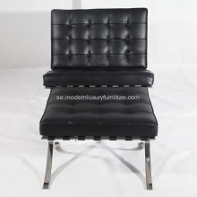 Knoll Barcelona Leather Lounge stol Reproduktion