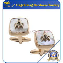 Masonic Two Part Metal Pearl Cufflink