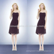 Chiffon Bridesmaid Dress Patterns 2014 Purple Strapless Knee-Length Short A-Line Prom Gown With Pleats Wholesale China NB0740