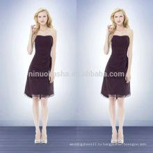 Шифон невесты выкройки платье фиолетовый 2014 без бретелек длиной до колен короткие a-линия Пром платье со складками оптом Китай NB0740