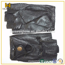 Very cool !!! black custom emboss logo Sport leather Gloves women driving gloves