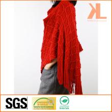 Acrylic Fashion Lady Winter Warm Red Diamond Fringed Knitted Cloak