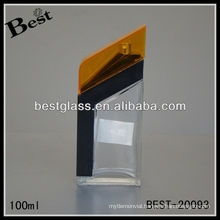 100ml clear empty perfume bottes with yellow plastic cap