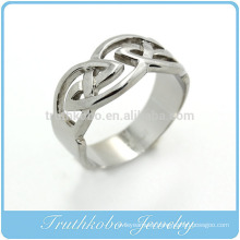 TKB-R0027 Celtic Wedding Ring With Encircled Knotwork Encased in Rails Design in Stainless Steel
