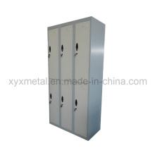 6 portes structure en acier meuble en métal armoire vestiaire